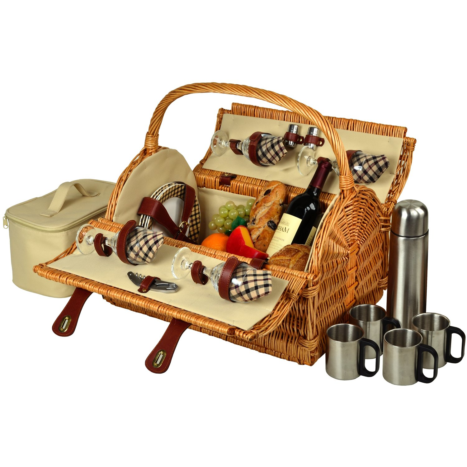 Picnic at Ascot Yorkshire Willow Picnic Basket with Service for 4,  Coffee Set and Blanket - London Plaid