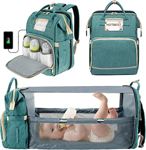 3 in 1 Diaper Bag Backpack with Changing Station,Portable Travel Crib Bassinet USB Port Foldable Bed Waterproof Convertible Newborn Baby Shower Gifts Essentials Accessories Stuff for Girls Boys(Green)