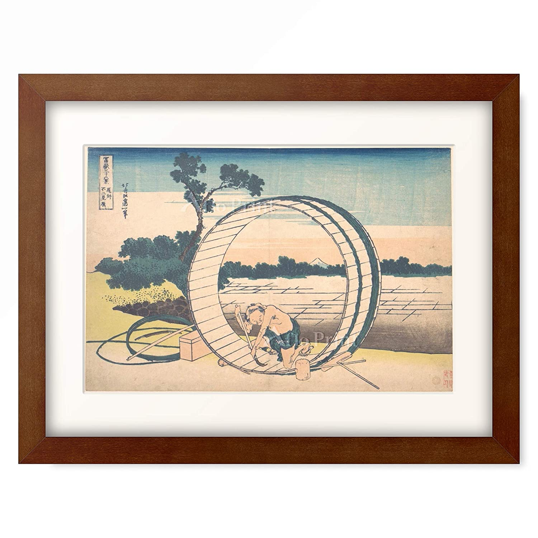 葛飾北斎 Katsushika Hokusai 「冨嶽三十六景 尾州不二見原」 額装アート作品 M(額内寸 379mm×288mm) 05.木製額 22mm(ブラウン) B07PTZ4FDC