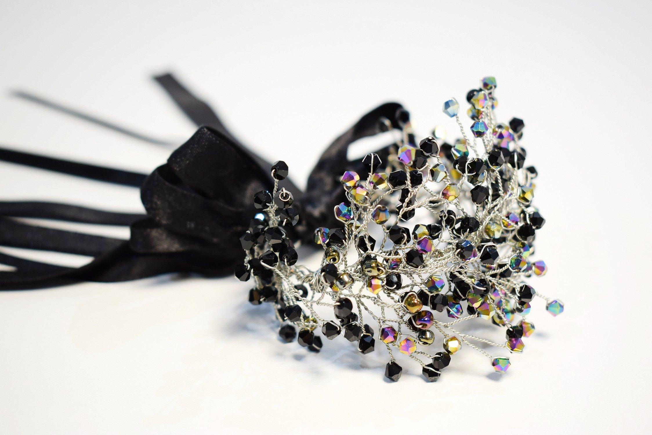 Black Bridal Crown and Bracelet Set