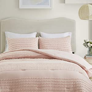 Comfort Spaces Phillips Comforter Reversible 100% Cotton Face Jacquard Tufted Chenille Dots Ultra-Soft Overfilled Down Alternative Hypoallergenic All Season Bedding-Set, Full/Queen, Blush