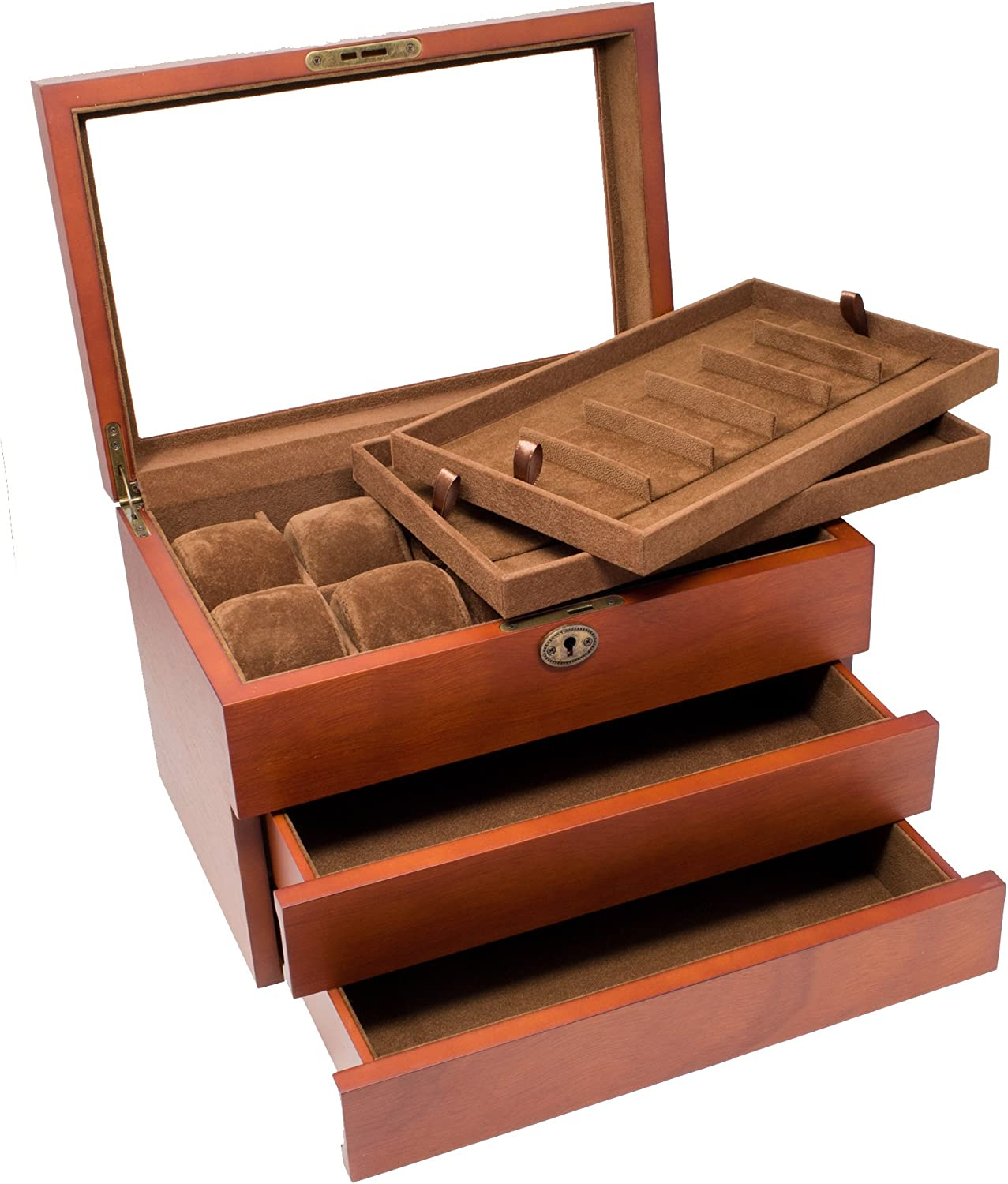 Wood Watch Box Display Storage Case with 2 Removable Watch Band Strap Tray, Holds 10+ Watches, 12+ Watch Bands, Glass Top, High Depth, Vintage Brown by Caddy Bay Collection