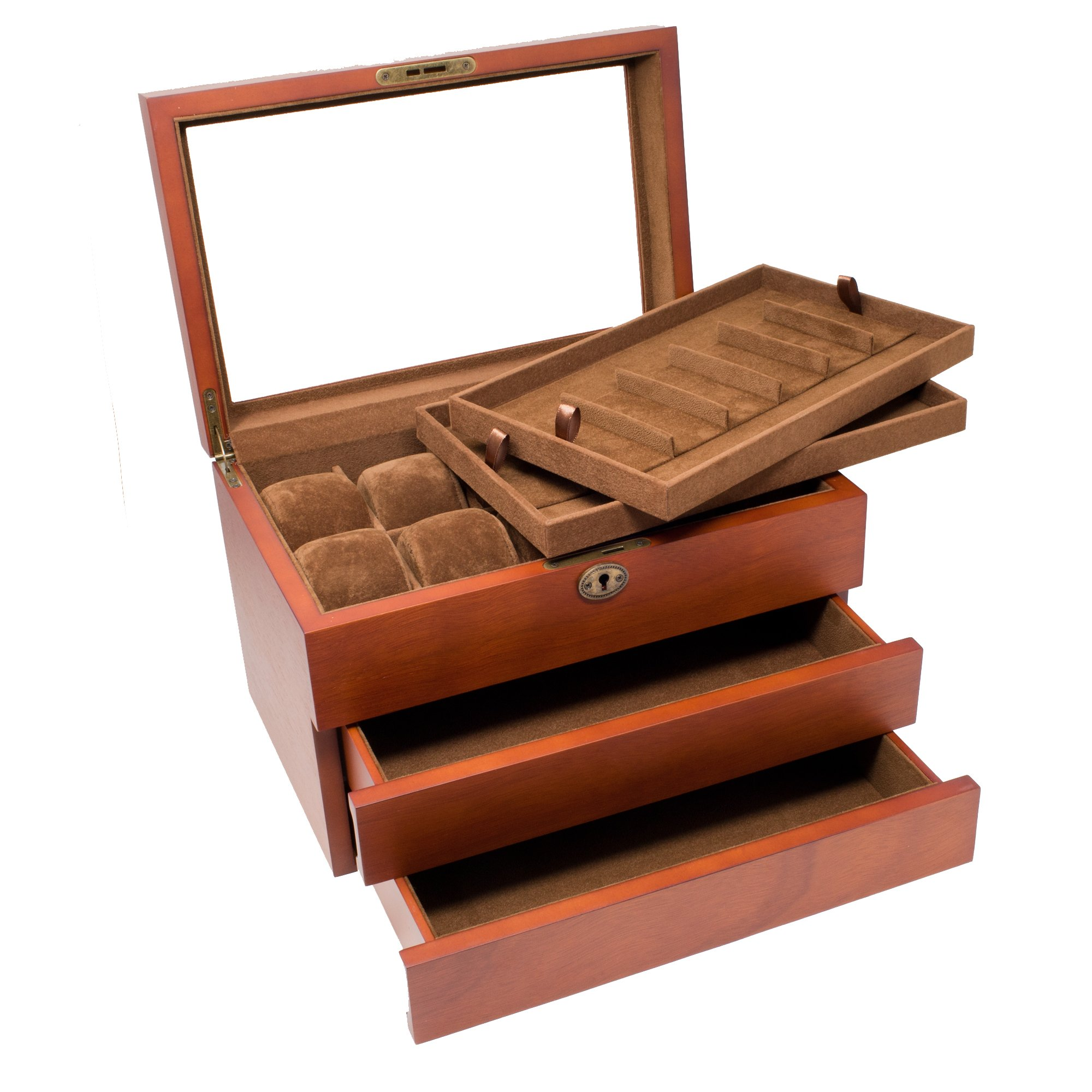 Caddy Bay Collection Solid Wood Watch Box with 2 Removable Watch Band Strap Tray, Holds 10+ Watches, 12+ Watch Bands, Glass Top, High Clearance, Vintage Brown