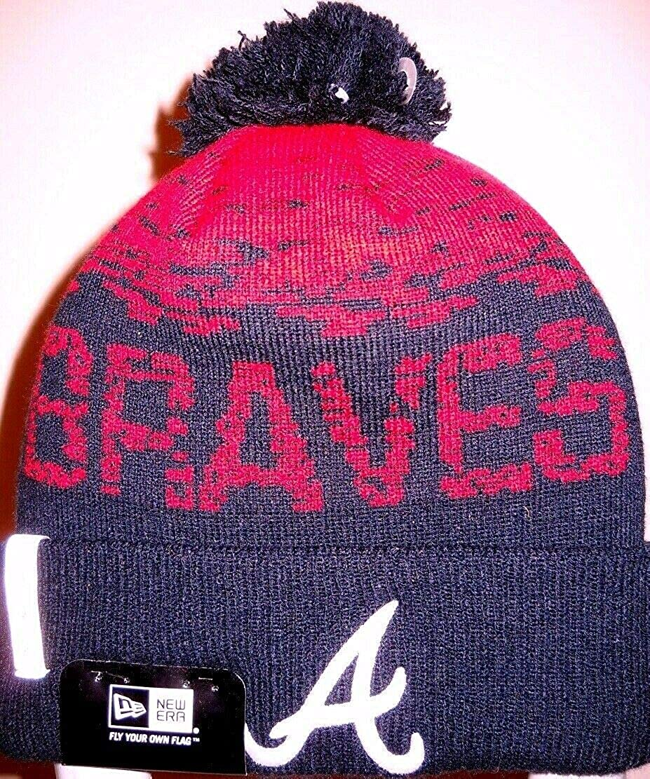 Atlanta Braves Unisex Adult Knit Hat Cap Toboggan Beanie Skully with Embroidered Logo A on Cuff Team Nickname on Body and Navy Blue Pom Ball