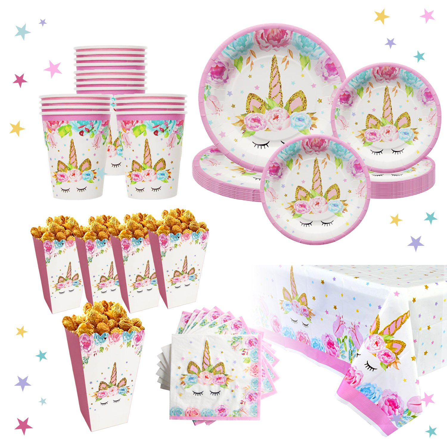 Unicorn Party Supplies Set for 16 | Plates, Cups,Table Cloth, Napkins, Popcorn Boxes Kit | Diposable Tableware | Magical Decorations for Girls or Kid's Birthday Parties, Baby shower by Bestus by Bestus