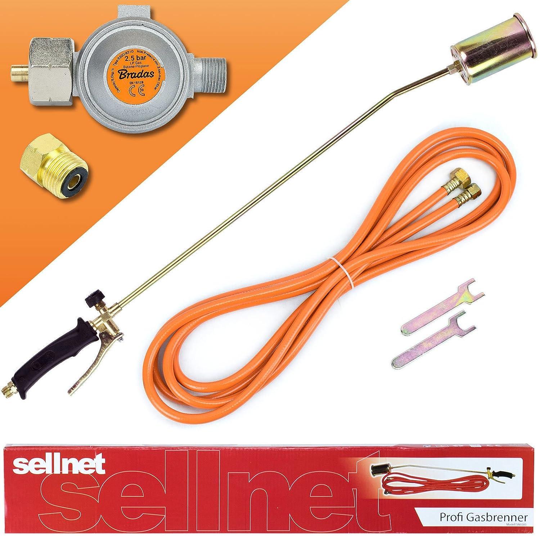 Gasbrenner 58KW Unkrautvernichter Brenner Dachbrenner Mitteldruckregler SN0283R2