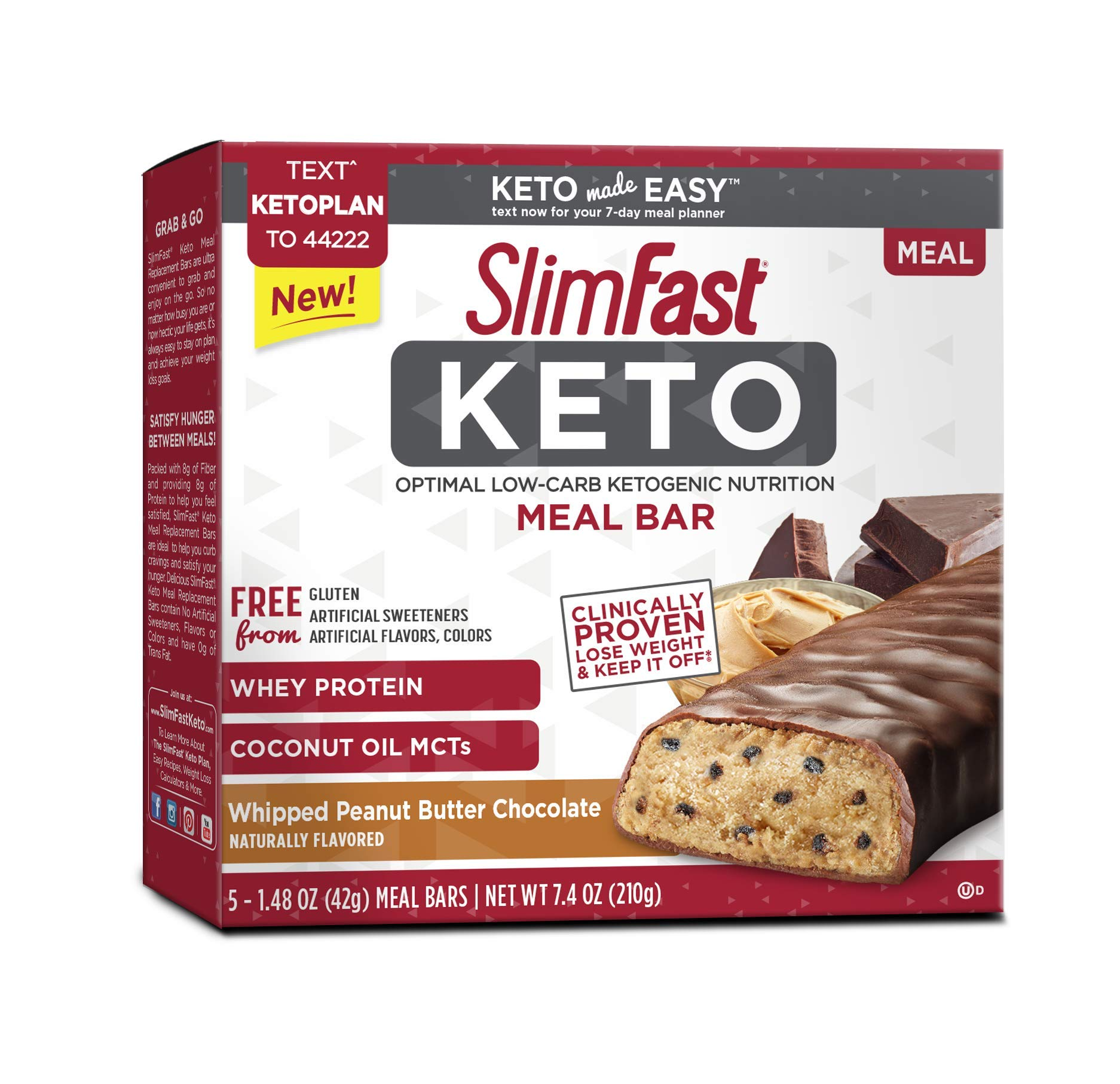 SlimFast Keto Meal Replacement Whipped Peanut Butter Chocolate Bar 1.48 oz 5 Bars per Box (4 Boxes)