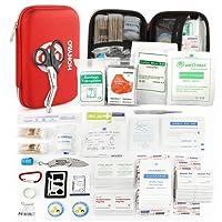 HONYAO Botiquín de Primeros Auxilios de 226 Artículos - Kit de Supervivencia Médica con Estuche Impermeable, Peso Ligero Compacto para Viajes al Aire Libre, Bote, Automóvil, Camión, Motocicleta, Hogar y Lugar de Trabajo