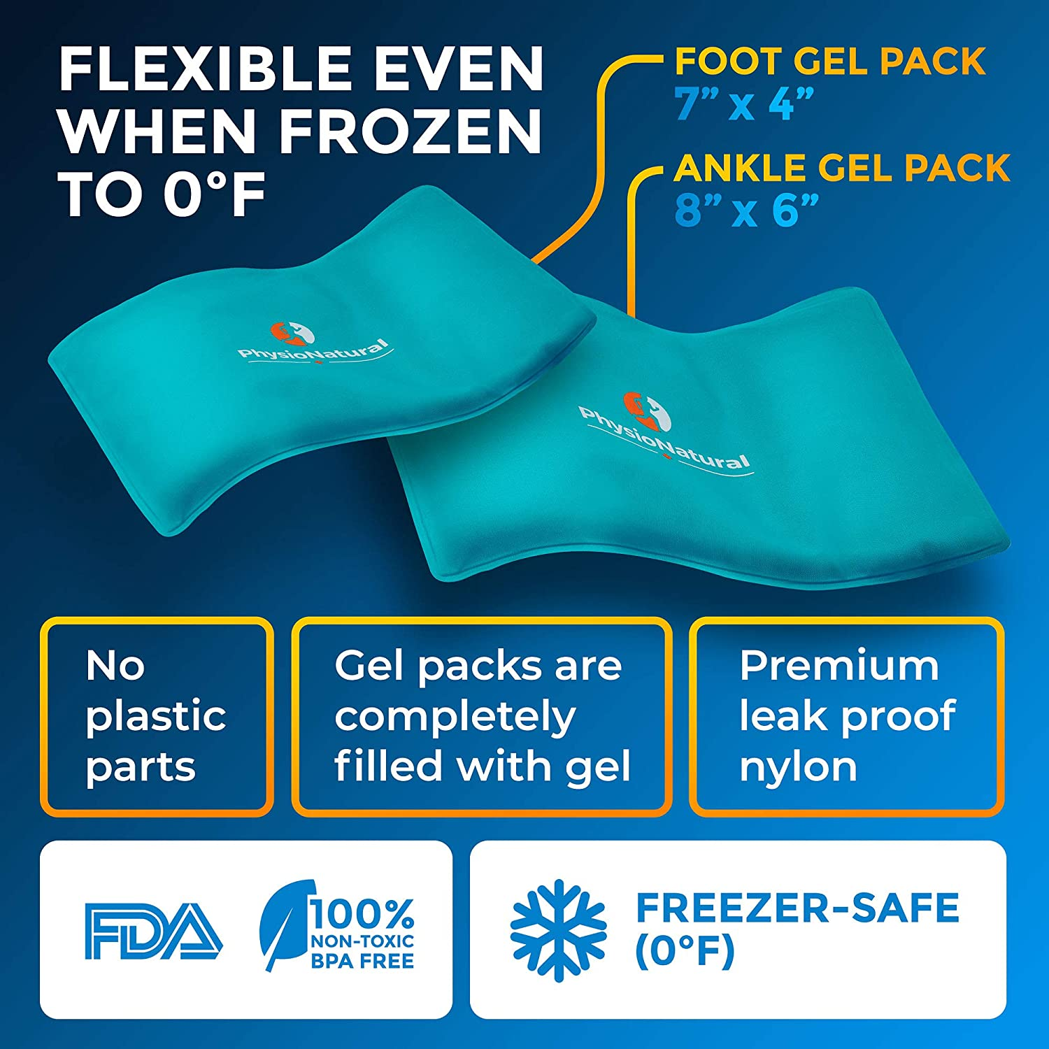 Bursitis /& Sore Feet Achilles Tendon Injuries Foot /& Ankle Pain Relief Ice Wrap with 2 Cold Gel Packs XS-XL for Sprained Ankle Plantar Fasciitis Freezable and Reusable