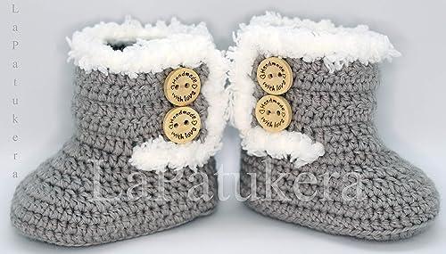 Patucos para bebé de crochet, Unisex. Estilo botas Canadá de color ...