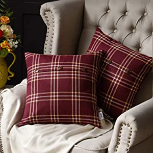 WESTERN HOME WH Decorative Farmhouse Throw Pillow Covers, Cushion Covers Triple Button, Plaid Linen Pillowcase for Christmas Decor Couch Sofa Bed 18 x 18 Inch, Set of 2, Cranberry