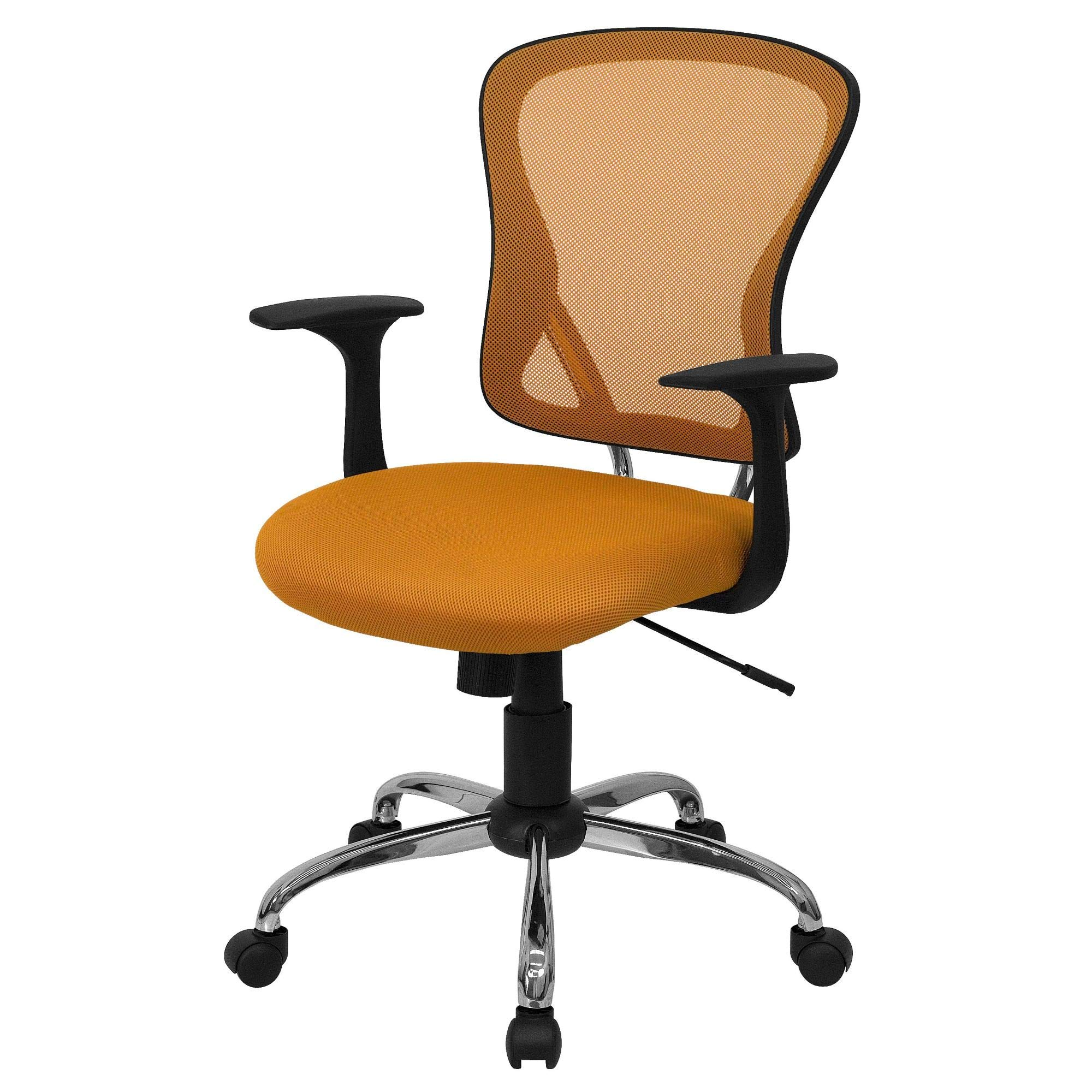 Delacora H-8369F-ORG-GG 25.25 Inch Wide Fabric Swivel Task Chair with Mesh Back
