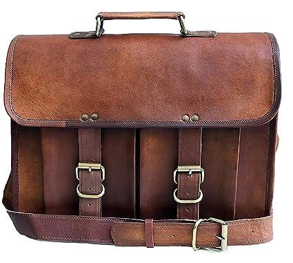 80043a4825b7 15 Inch Leather Vintage Rustic Crossbody Messenger Courier Satchel Bag Gift  Men Women ~ Business Work