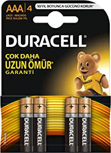 Duracell Alkalin AAA İnce Kalem Piller, 4'lü paket