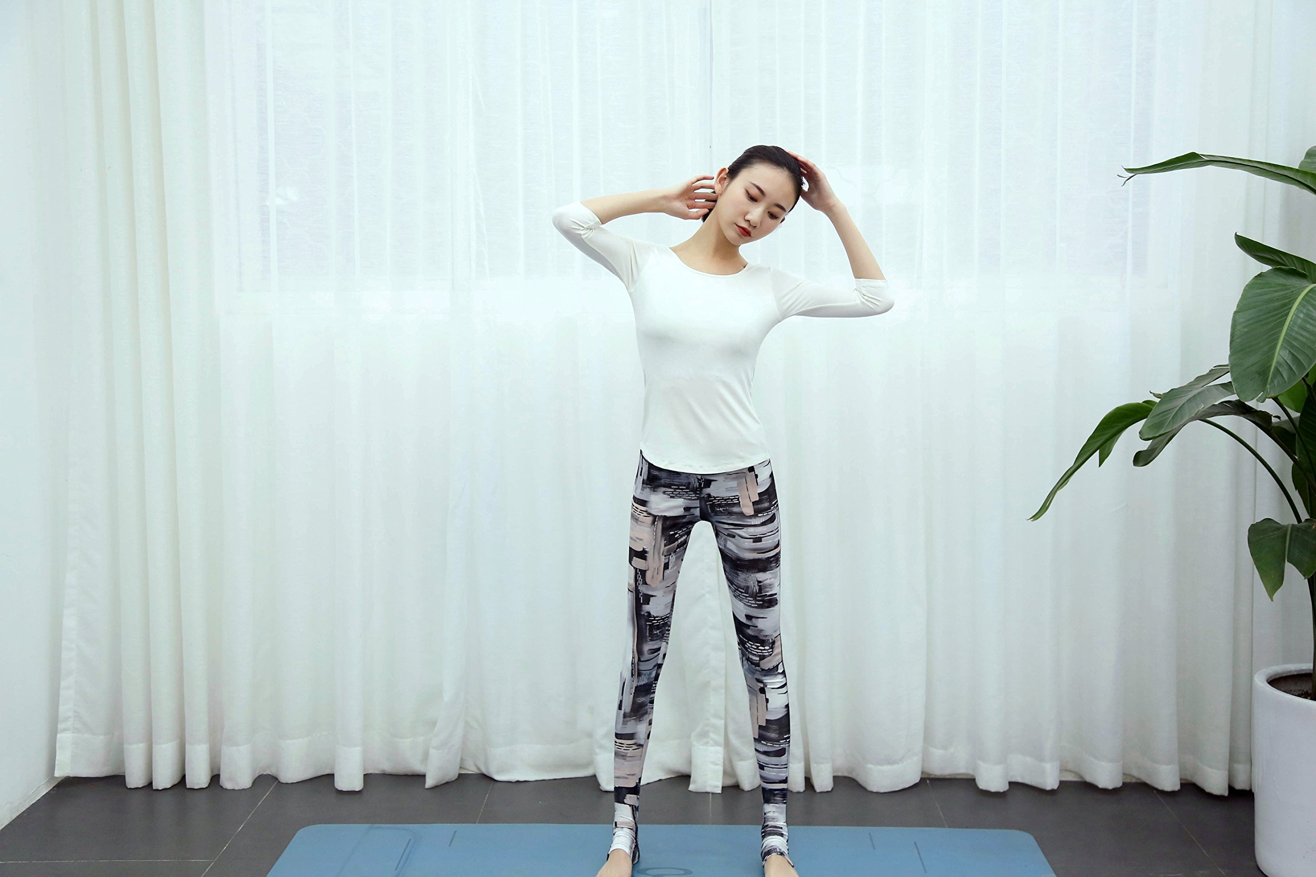 JohnPey Best Sexy Workout Pants For Women Compression Thin Crossfit White and Pink XL