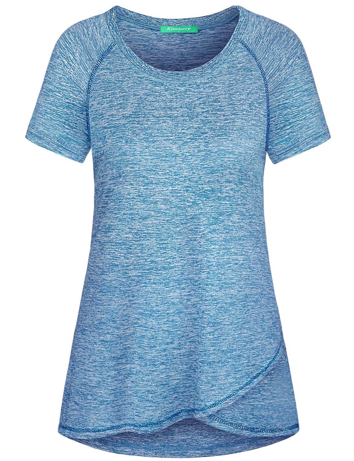 Kimmery Gym Shirts for Women, Dry Fit Wicking Raglan Sleeve T-Shirt Crewneck Stretchy Space Dye Casual Outdoors Sports Activewear Tops Fashion Running Jogging Fitness Hiking Active Tunics Blue Large