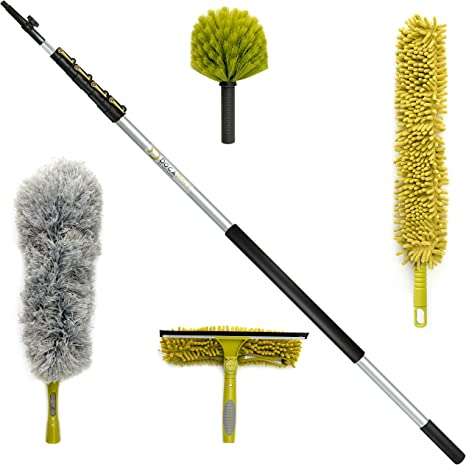 Amazon Com Docapole Cleaning Kit With 30 Foot Extension Pole Includes 3 Dusting Attachments 1 Window Squeegee Washer Cobweb Duster Microfiber Feather Duster Ceiling Fan Duster Cleaner Kitchen Dining
