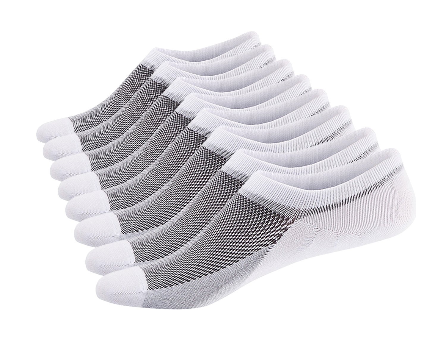 SIXDAYSOX Men's No Show Socks Cotton Non Slip Low Cut Invisible Socks Mesh Knit 6-11 Pack of 8 White by SIXDAYSOX