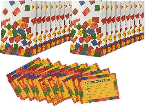 Juvale 16 Pack Building Blocks Birthday Party Invitations