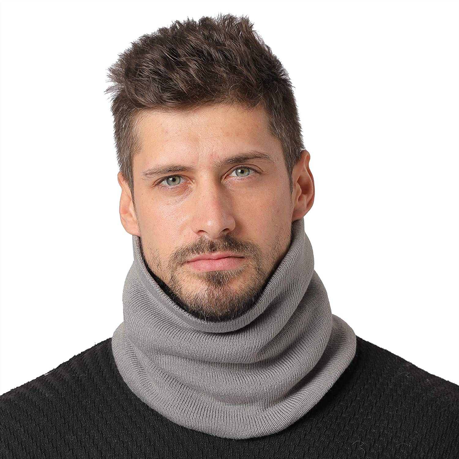 NovForth Neck Warmer Double-Layer Fleece Lining Knit Winter Infinity Scarf Chunky Thick Windproof Circle Loop Scarves