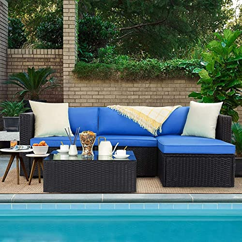 VITESSE 5 Pieces Patio Furniture Sectional Sets,Outdoor All-Weather PE Rattan Wicker Lawn Conversation Sets Garden Sofa Set