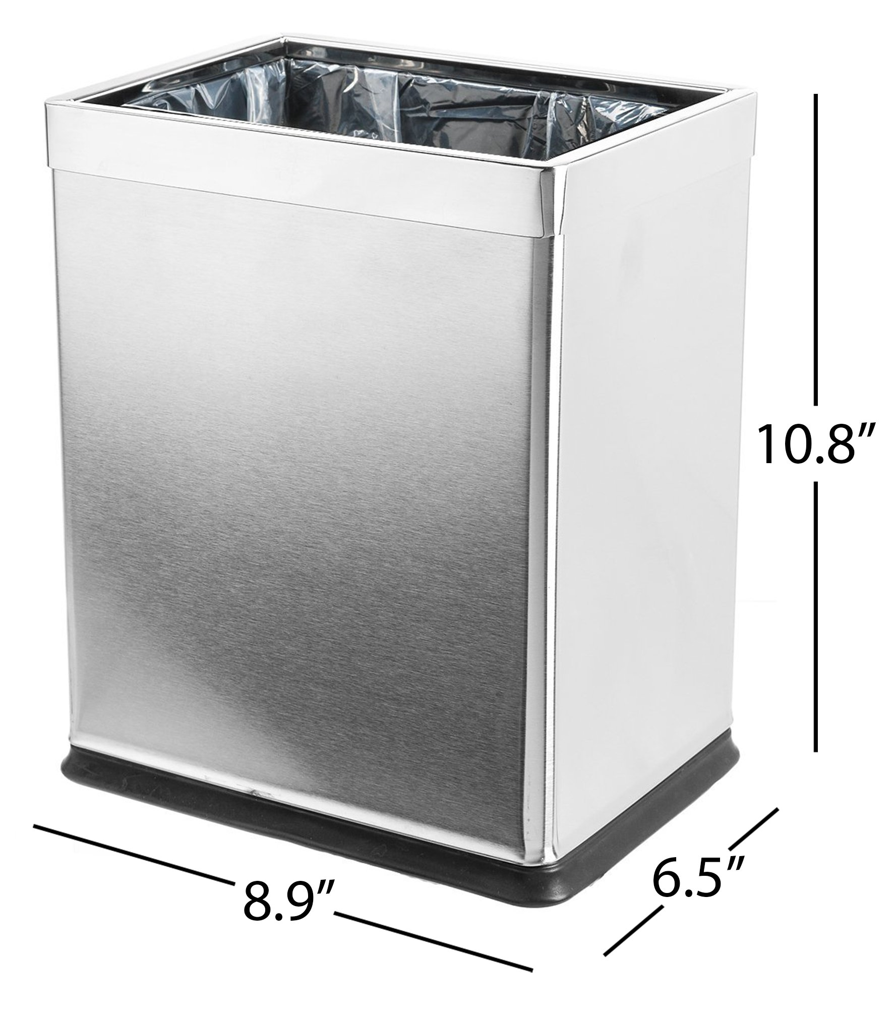 Dualplex Brelso 'Invisi-Overlap' Open Top Trash Can, Small Office Wastebasket, Modern Home Décor, Rectangle Shape Stainless Steel by Dualplex