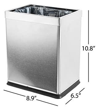 Brelso Invisi Overlap Open Top Stainless Steel Trash Can Small Office Wastebasket