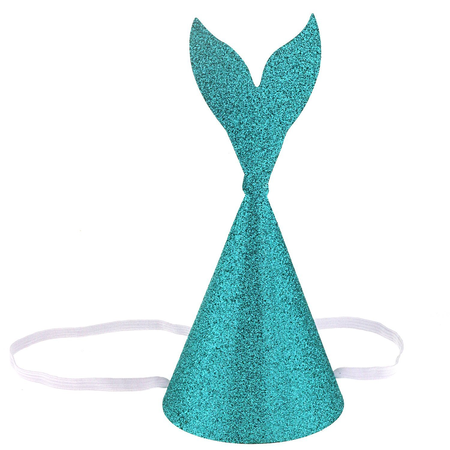 NUOFENG 8PCS Glitter Blue Mermaid Tail Party Hats Birthday Party Decorations for Children and Adults