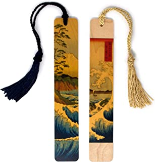 product image for The Great Wave and Mt. Fuji (Set) by Japanese Ukiyo-e Woodblock Artist Hokusai, Color Wooden Bookmarks with Tassels