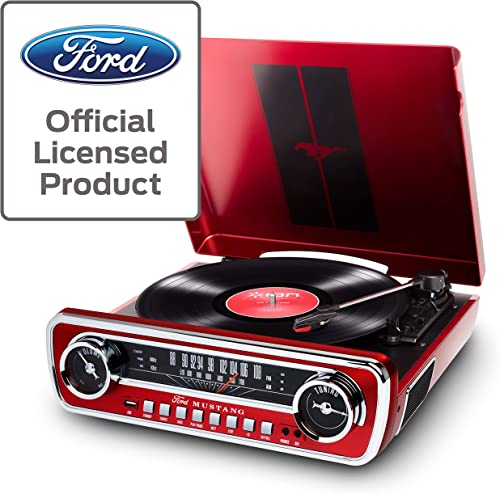 ION Audio Ford LP-4-in-1 Classic Car Styled Music Center, Red Mustang LP
