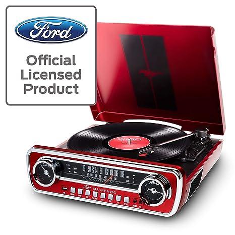 ION Audio Mustang LP - Centro de Música 4-en-1 con Diseño de Radio de Coche Clásico, con Giradiscos, Radio, USB y Entradas Auxiliares, color Rojo