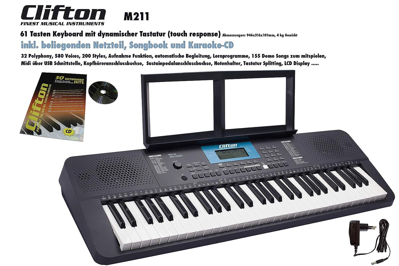 Clifton 6210c - Teclado LP6210C, USB, MIDI, 61 teclas sensibles al tacto, fuente de alimentación, rueda de Pitch-Bend: Amazon.es: Instrumentos musicales