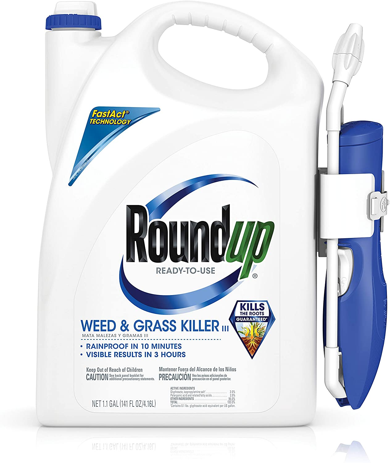 Roundup Ready-To-Use Weed & Grass Killer III with Comfort Wand, 1.1 gal.