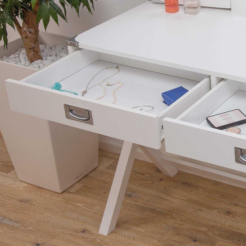 Albatros Tavolo per Trucco di Design Anna toeletta Bianco con Specchio e Due cassetti Tavolo per Make-up