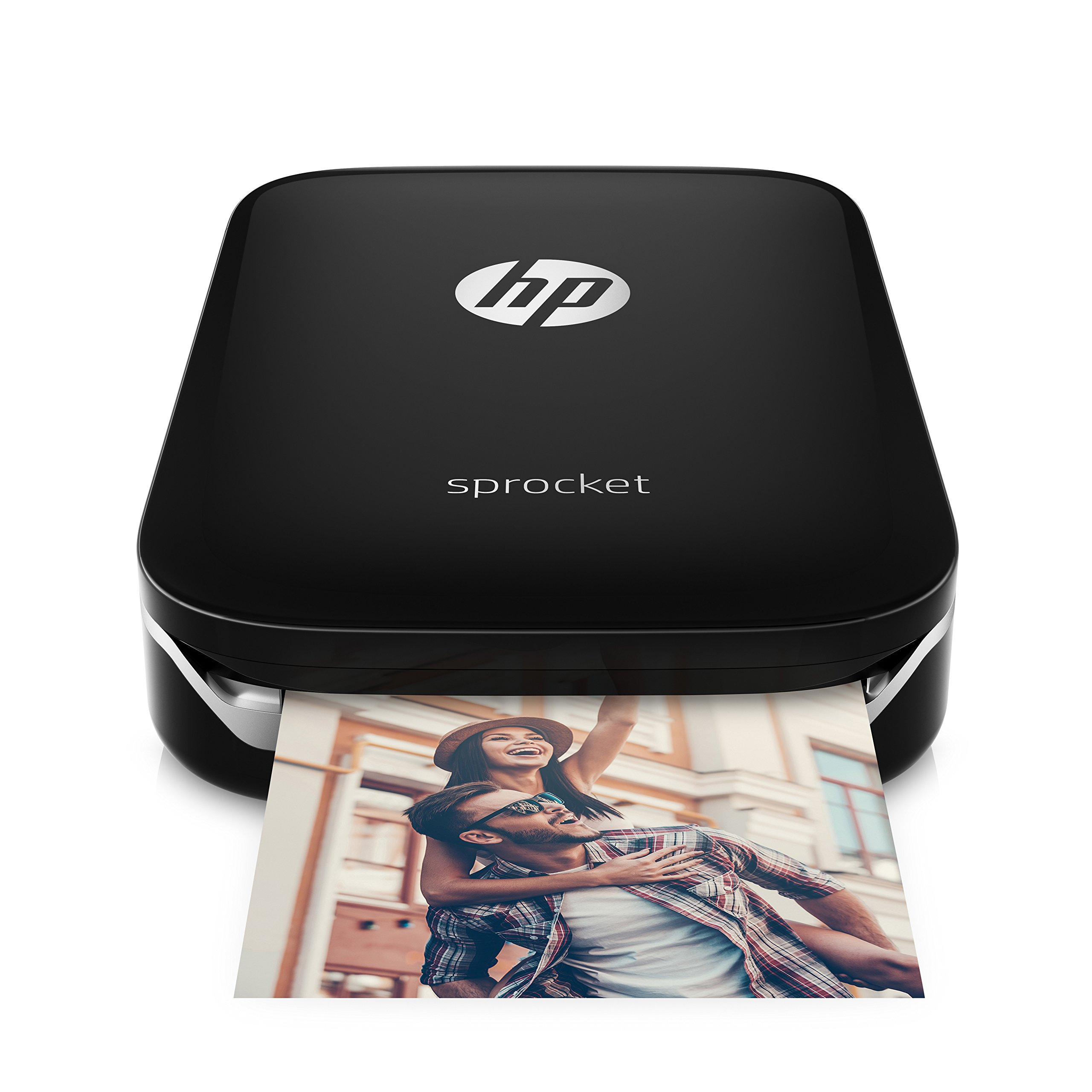 HP Sprocket Portable Photo Printer, print social media photos on 2x3 sticky-backed paper - black (X7N08A)