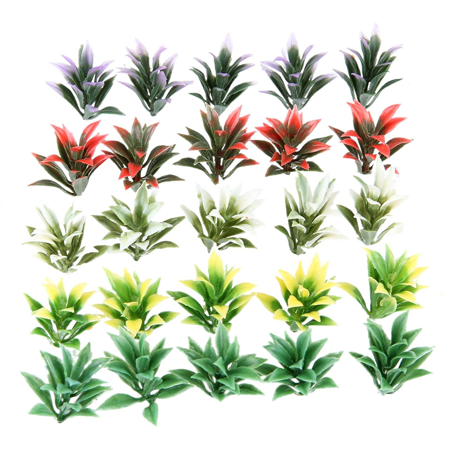 100Pcs Colorful Model Flowering Plants Railway Park Garden Scene 1:100 HO TT Scale Height 4cm Yetaha