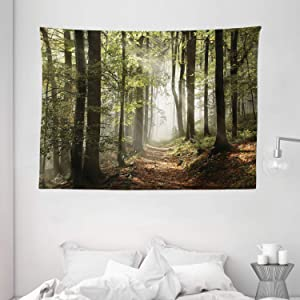 """Ambesonne Forest Tapestry, Autumnal Forest Pathway in The Mountains with Mist in The Distance Wilderness Scene, Wide Wall Hanging for Bedroom Living Room Dorm, 80"""" X 60"""", Redwood"""