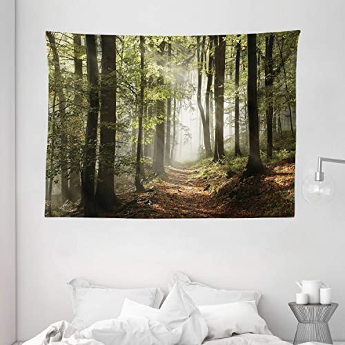 Ambesonne Forest Tapestry, Autumnal Forest Pathway in The Mountains with Mist in The Distance Wilderness Scene, Wide Wall Hanging for Bedroom Living Room Dorm, 80 X 60 , Redwood
