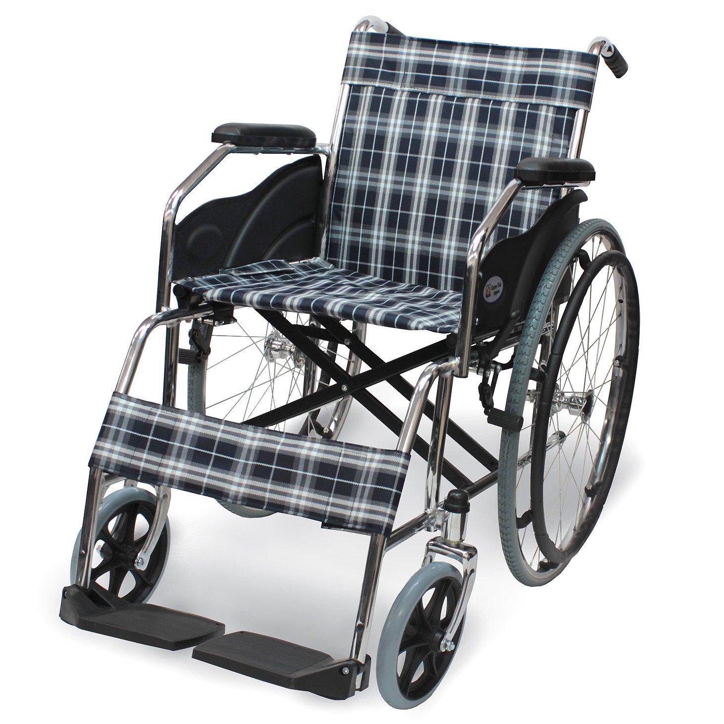 ケアテックジャパン 自走式 スチール製 折りたたみ 車椅子 ウィッシュ CS-10 B00ODUBNNQ スタンダードチェック スタンダードチェック