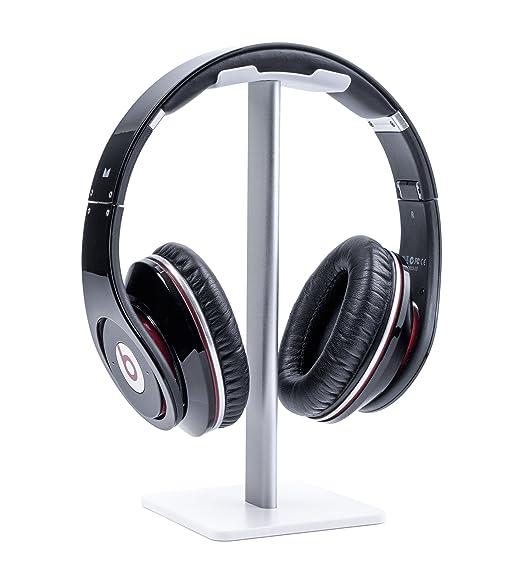 491aa668aa5 boldR Lenfech Soporte Blanco con Plateado para Audífonos/Base Universal de  Escritorio para Auriculares. Headphone/Gaming Headset Stand.