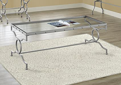 Superbe Monarch Specialties I 3324 Silver Metal With Tempered Glass Coffee Table