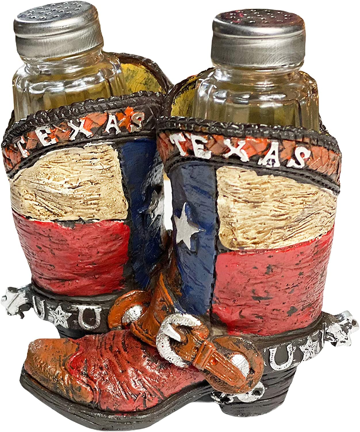 Urbalabs Texas Flag Boots Ceramic Western Salt and Pepper Shaker Caddy Country Ranch Farmhouse Dinner Table Kitchen Counter Decor Glass Set of Cowboy Boots Gifts for Friends and Family (Texas Boots)