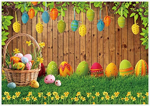 Zhy Spring Easter Background Cute Rabbits Green Grassland with Flowers Nature Landscape Photography Background Newborn Baby Photo Shoot Portrait Studio Props Birthday7X5FT