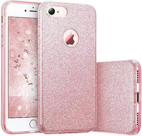 """Image ofCoovertify Funda Purpurina Brillante Rosa iPhone 8, Carcasa Resistente de Gel Silicona con Brillo para Apple iPhone 8 (4,7"""")"""