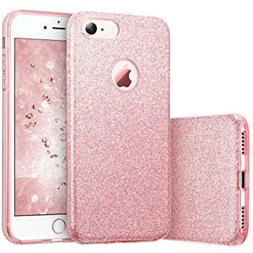 Coovertify Funda Purpurina Brillante Rosa iPhone 8, Carcasa resistente de gel silicona con brillo para Apple iPhone 8 (4,7