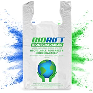 BioRift Eco Friendly T-Shirt Grocery Bags | 100% Biodegradable | Certified ASTM D5511 Thank You Shopping Bags with Handles | Extra Thick 0.61 Mils, Food Scraps, & Shopping - 250 Count (250 Count)
