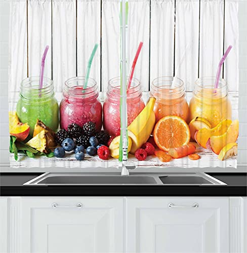 Ambesonne Fruits Decor Collection, Healthy Smoothies with Fresh Ingredients on a Kitchen Board Beverage BlackBerry Image, Window Treatments for Kitchen Curtains 2 Panels, 55 X 39 Inches, Pink Orange
