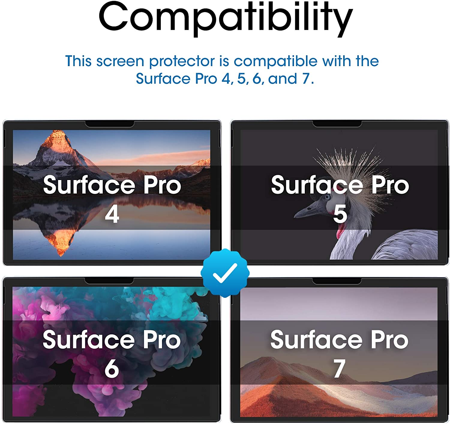Tempered Glass Film 12.3 Inches Screen Protector Glass for Microsoft Surface Pro 7 Surface Pro 5 Easy Install amFilm Case Friendly 2 Pack and Surface Pro 4 Surface Pro 6