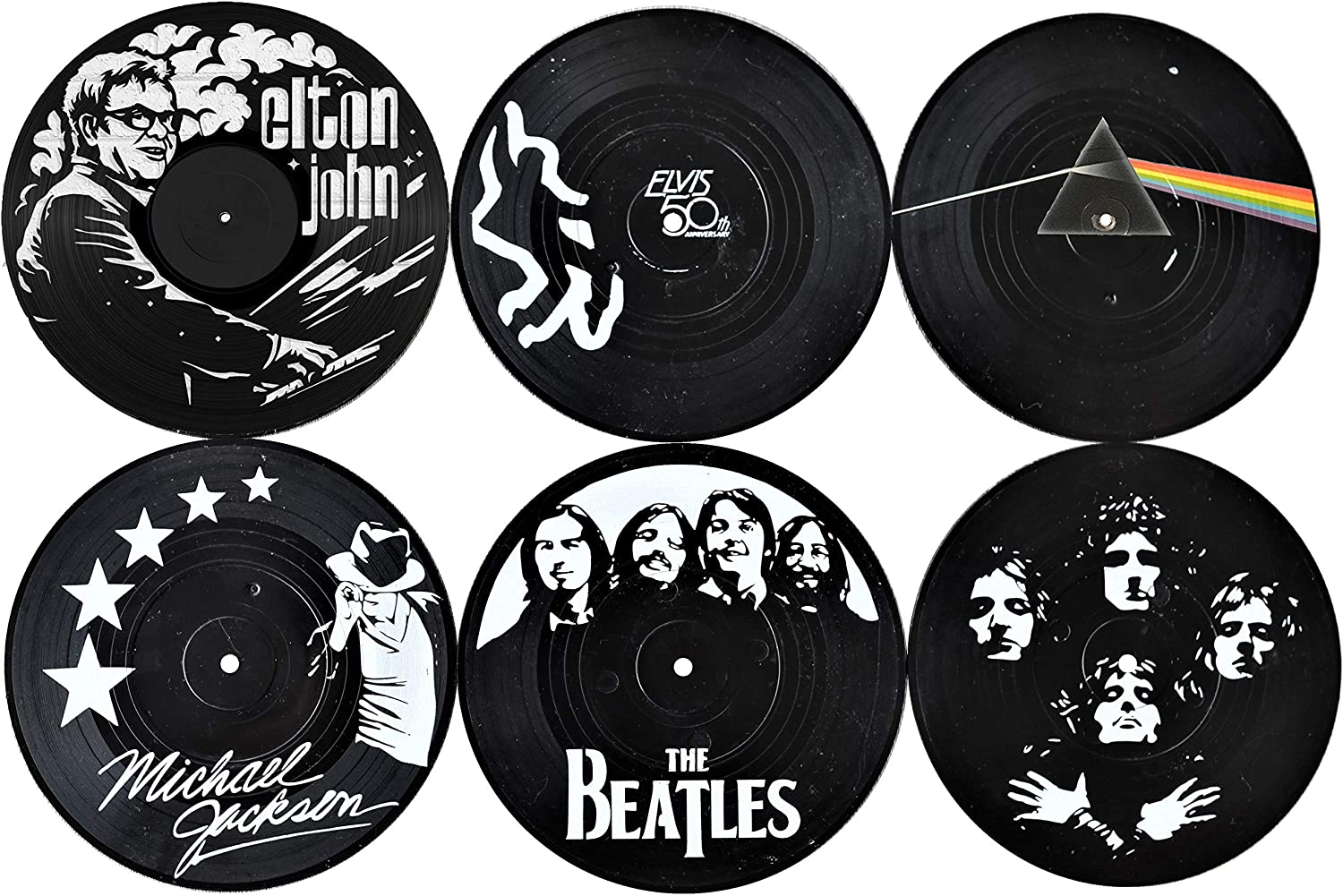 Our Casa Coasters For Drinks | Home Decor Music Coaster (6-Piece Set) With Vinyl Record Design | Gift For New Home, Housewarming, Indoor, Living Room Decoration | Black And White Design