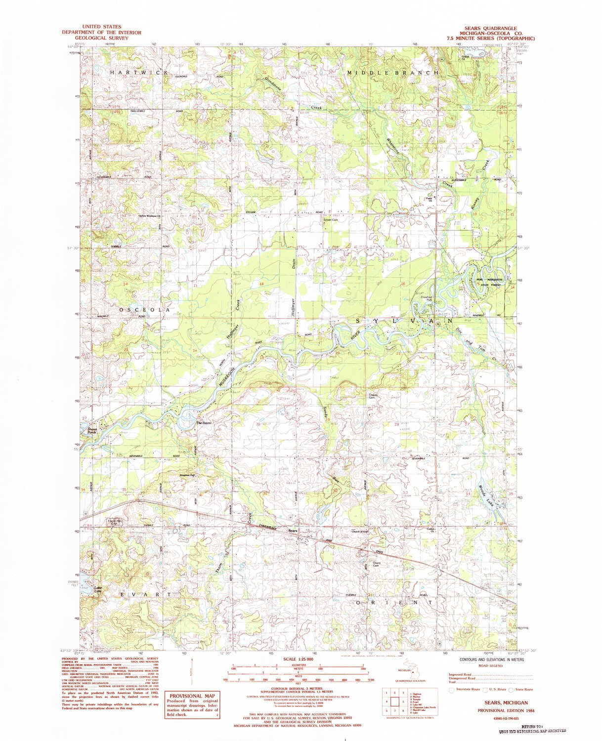 Amazon.com: YellowMaps Sears MI topo map, 1:25000 Scale, 7.5 ...